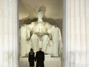 President-elect Donald Trump and wife Melania at the Lincoln Memorial January 19, 2017 in Washington, DC