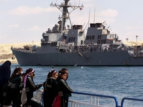 Destroyer USS Mahan was escorting other ships. Pic: file