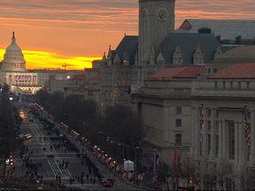 Inauguration day starts with a beautiful sunrise over Capitol Hill
