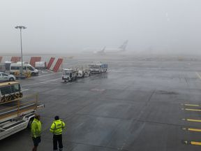Foggy conditions at Gatwick