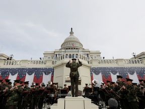 The President's Own Marine Band rehearsing for Mr Trump's inauguration yesterday