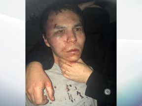 Masharipov was pictured bruised and bloodied after his arrest
