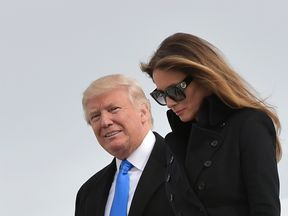 Donald Trump and Melania arriving in Washington