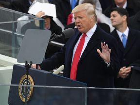 US President Donald Trump speaks after being sworn in as President