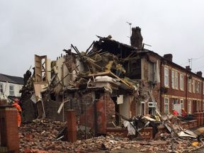 North West Ambulance Service's picture of the house blast in Cecil Road, Manchester