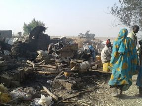 Aftermath of the bombing intended to target Boko Haram. Pic: MSF