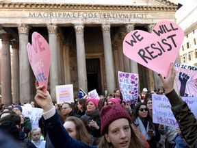 Women protesting in Italy