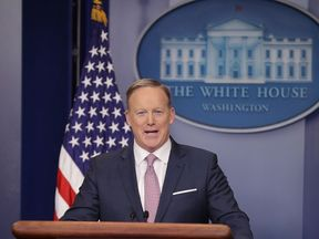 Sean Spicer talks to the media at the White House