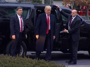 Donald Trump arrives at church