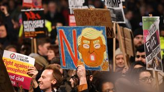 The protests in central London were held close to the gates of Downing Street