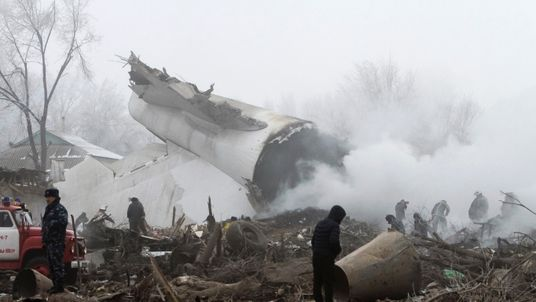 Rescue teams at the site of the Turkish cargo jet crash