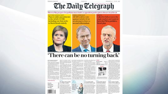 Opposition leaders are plotting to undermine Theresa May's plan for a clean Brexit, according to The Daily Telegraph