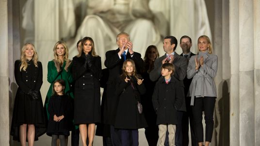WASHINGTON, DC - JANUARY 19: (AFP OUT) President-elect Donald J. Trump and family stand in front of the Lincoln Memorial at the inaugural concert in January 19, 2017 in Washington, DC. Hundreds of thousands of people are expected tomorrow for Trump's inauguration as the 45th president of the United States. (Photo by Chris Kleponis-Pool/Getty Images)