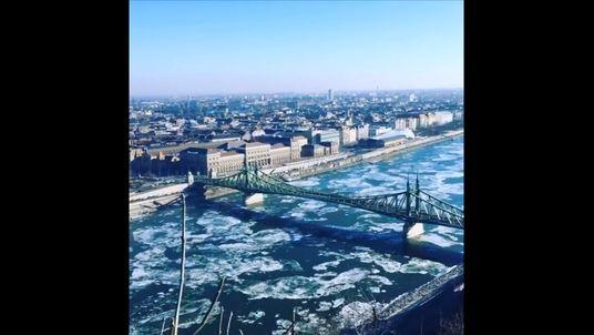 Ice Floes on the Danube. Pic: Credit: Instagram/damirio_kabario (Damir Kabaklic via Storyful)