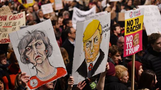 Protests against the ban took place in many cities, including central London