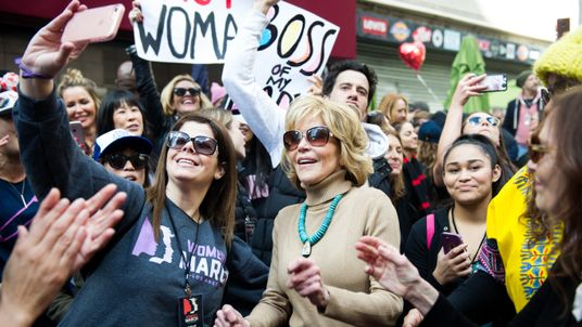 Jane Fonda joined protesters in Los Angeles