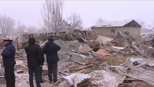 Debris from the cargo plane crash in Kyrgyzstan