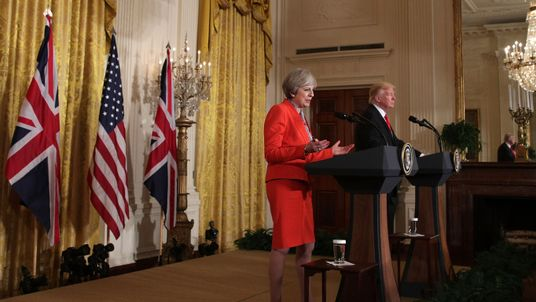 Theresa May and Donald Trump at a news conference in the White House