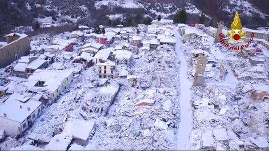 Amatrice, which was hit by earthquakes last year, covered in snow