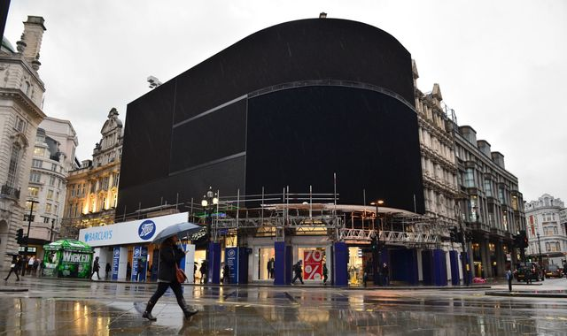 Piccadilly Circus goes dark as billboards switched off