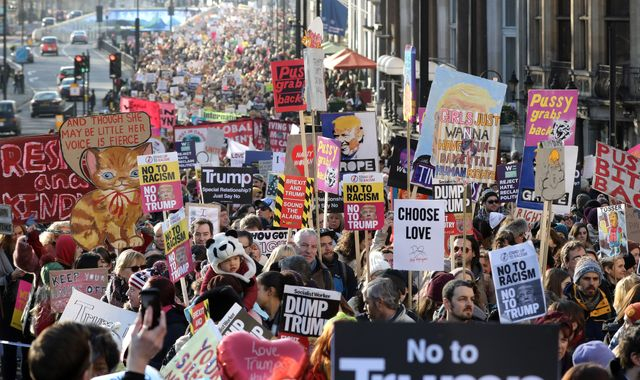 Thousands of women march against Trump around the UK and the world