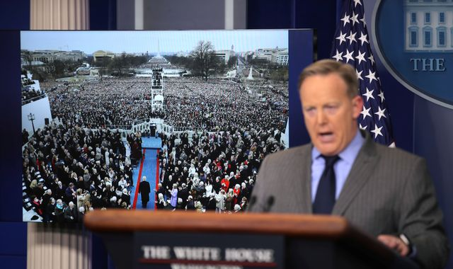 White House lashes out at media 'lies' about inauguration crowds