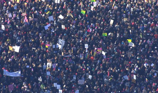 'Half a million' women protest against Donald Trump in Washington