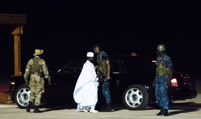 Former Gambia leader Yahya Jammeh flies into political exile