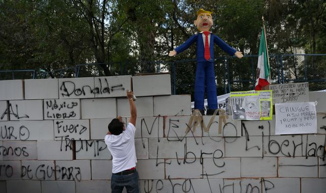 Mexicans build mock wall in Trump protest outside US embassy