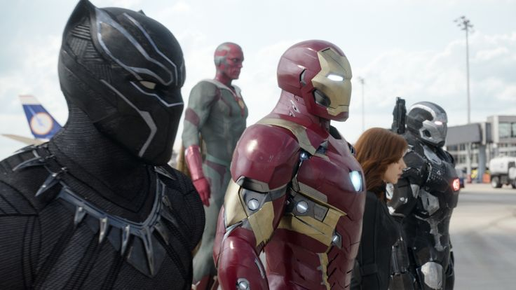 Marvel's Captain America: Civil War..L to R: Black Panther/T'Challa (Chadwick Boseman), Vision (Paul Bettany), Iron Man/Tony Stark (Robert Downey Jr.), Black Widow/Natasha Romanoff (Scarlett Johansson), and War Machine/James Rhodey (Don Cheadle)