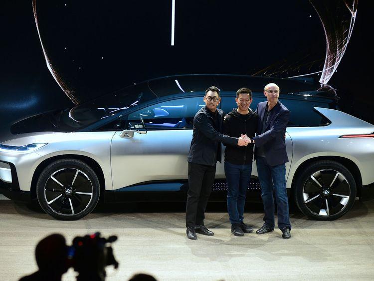 Richard Kim, Jia Yueting and Nick Sampson unveil the FF91