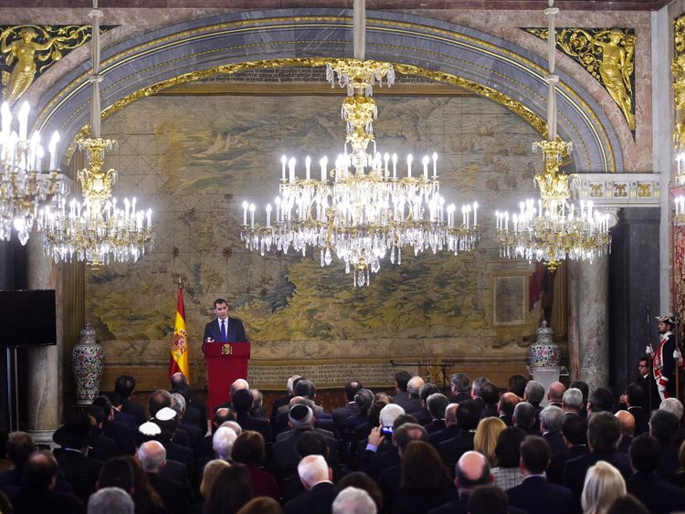 King Felipe of Spain, in 2015, paying tribute to the Sephardic Jews expelled from Spain in 1492