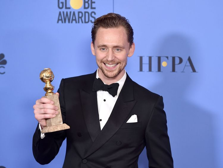 Actor Tom Hiddleston, leader of Best Actor in a Miniseries or Television Film for The Night Manager, poses in the press room during the 74th Annual Golden Globe Awards at The Beverly Hilton Hotel on Jan 8, 2017 in Beverly Hills, California