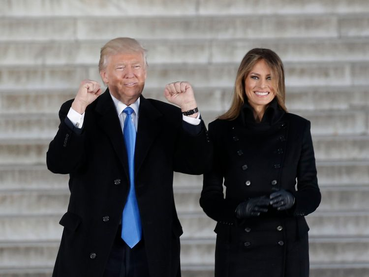 Donald and Melania Trump on the steps of the Lincoln Memorial
