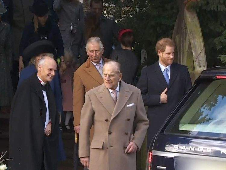 The Duke of Edinburgh was joined by Prince Charles and Prince Harry at the service