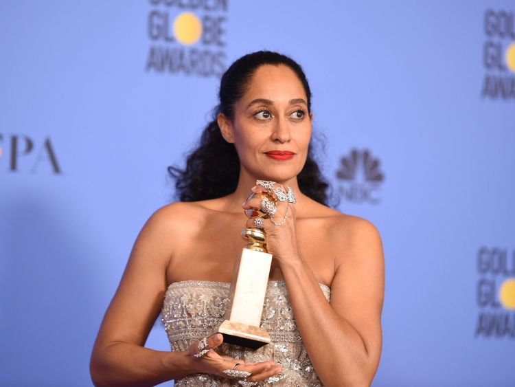 Tracee Ellis Ross poses with the award for Best Actress in a Comedy TV series for her role in Black-ish, in the press room at the 74th annual Golden Globe Awards, January 8, 2017, at the Beverly Hilton Hotel in Beverly Hills, California