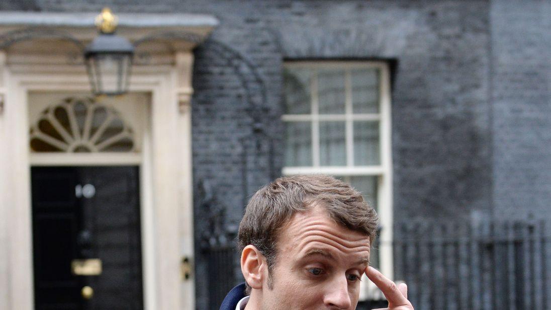 Emmanuel Macron outside Downing Street