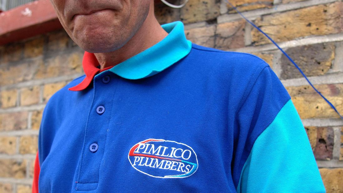 File photo dated 03/09/07 of a Pimlico Plumbers staff member wearing his uniform