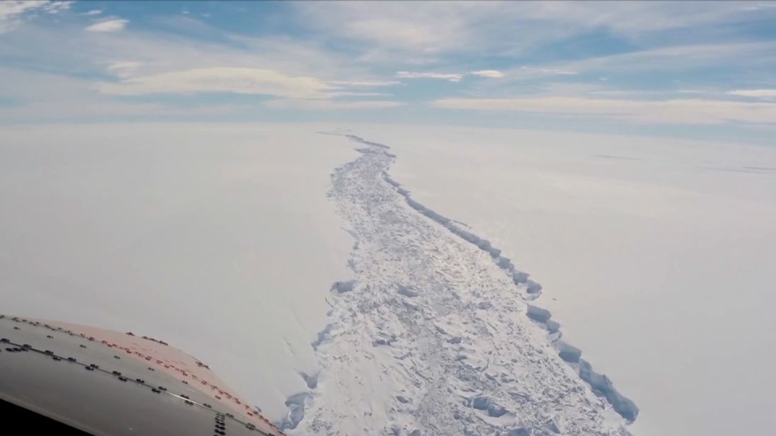 Giant Antarctic ice shelf hanging by a thread, scientists warn