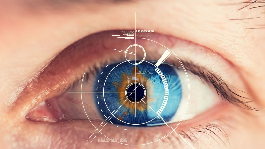 Iris or retina scans allow facial recognition to take the place of passwords