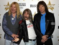 Spinal Tap: (L-R) Michael McKean as David St Hubbins, Harry Shearer as Derek Smalls and Christopher Guest as Nigel Tufnel