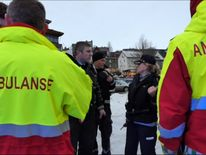 Emergency services at the Norwegian town of Halstad after a boating accident that injured British tourists