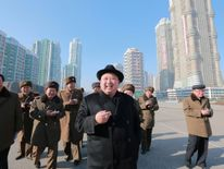 North Korea's leader Kim Jong-Un inspects a construction site