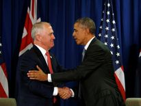 U.S. President Barack Obama and Australian Prime Minister Malcolm Turnbull meet during the APEC Summit in Lima, Peru November 20, 2016