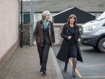 The PM was all smiles with Tory candidate Trudy Harrison