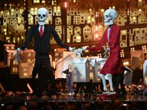 Katy Perry introduced puppets dressed as Donald Trump and Theresa May during her performance