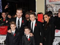 David and Victoria Beckham with their sons Brooklyn, Romeo and Cruz