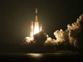A rocket launches from a space centre in Japan