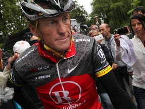 Disgraced cycling legend Lance Armstrong at the Tour de France in 2010