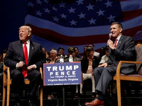 Mr Trump and Mr Flynn on the campaign trail in September 2016